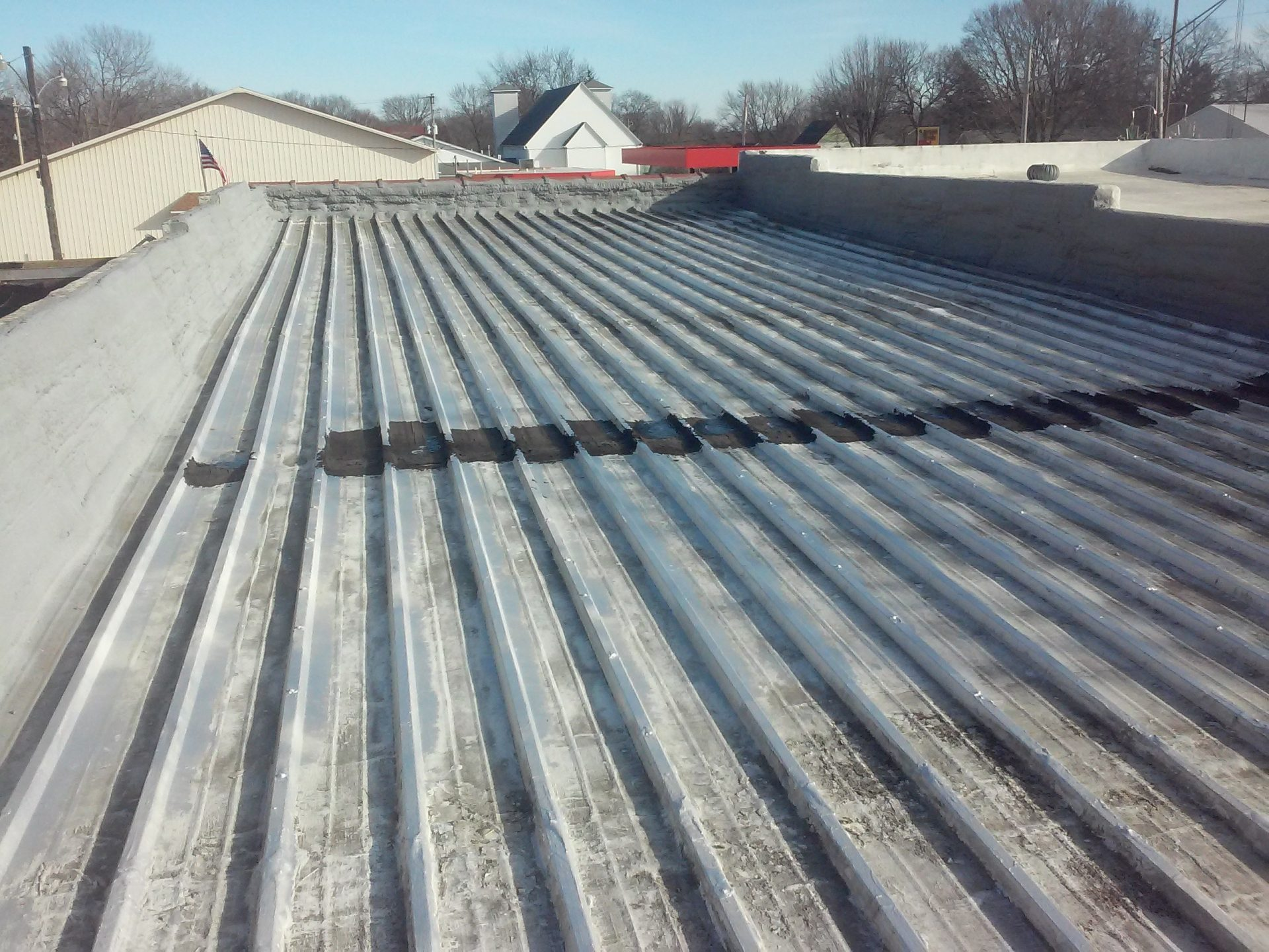 commercial roof restoration in progress