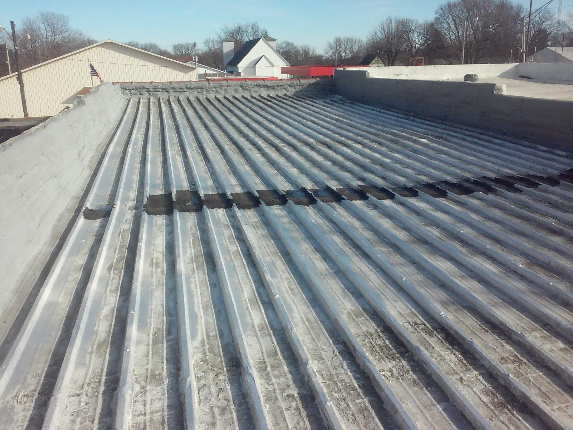 commercial roof restoration in progress