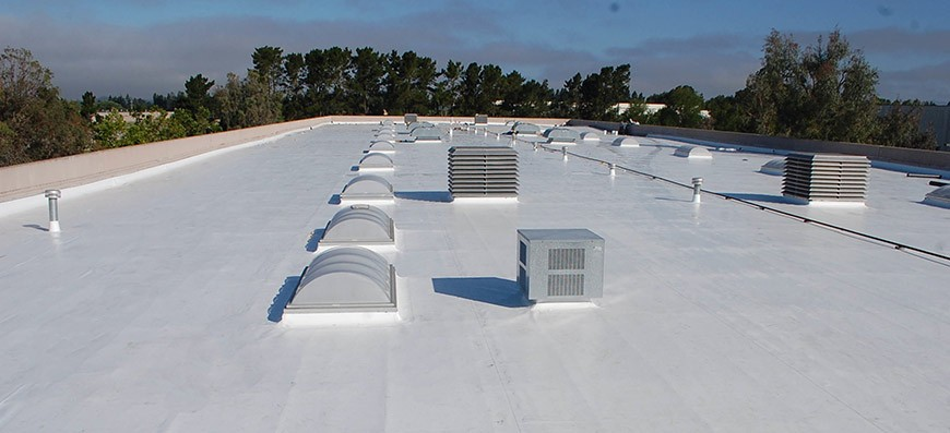 Our white single ply system on a roof.