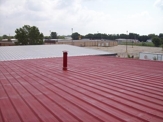 red commercial roof